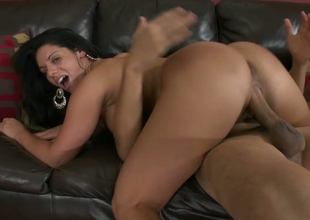 Whorish dark brown Bella Reese guzzles massive dick with pleasure