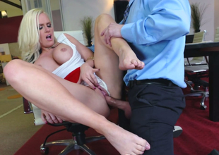 Young boss fucks sex-appeal golden-haired secretary Alena Croft on the chair
