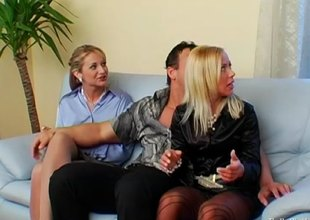 Sexy office ladies in satin blouses fuck in a foursome
