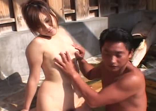 Sae Ikegawa finger screwed passionately in a pool outdoor