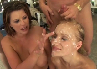Hot women in wild bukkake orgy