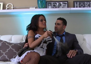 Kaylani Lei in stockings gets her bald pussy fixed missionary style