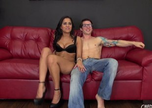Latina floozy and a nerdy fellow get it on passionately
