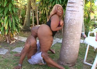 Ebony chick with a humongous ass is ready to ride the unbending sausage