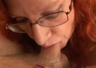 My super bosomy aged redhead wifey is fond of sucking my dick