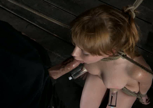 Red haired submissive pale chick gets tits pumped and throat fucked