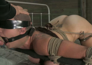 Blindfolded nylon queen is tied up and face fucked indeed hard