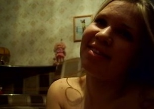 Skanky Russian amateur golden-haired angel on webcam speaking