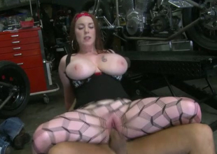 Dirty whore wearing fishnet pantyhose Desiree rides biker right on the floor