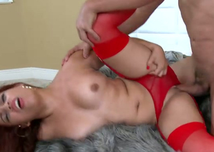 Sex-appeal bitch in red underware and stockings Marcella gets her pussy fucked