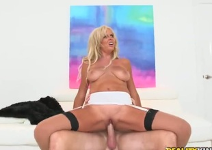 Blonde pornstars is licking a dick