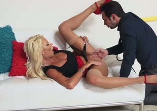 Tommy Pistol bonks Fuck crazed cutie Courtney Taylor with gigantic melons in her mouth as hard as possible in steamy oral act