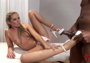 Blonde pornstar Cherry Jul gets down on her knees to take guys love stick deep down her throat
