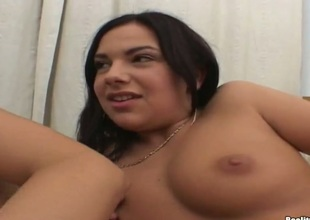 Brunette Valentina Gold fills the gap betwixt her legs with toy for the camera in solo action