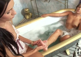 Blonde with small wobblers and smooth twat takes Sasha Rose s fingers in her love hole