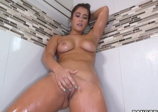 Gorgeous dilettante is alone in the shower. Whilst the hawt water is running one of her hands is going over her nipples while the other is massaging her tight pussy. Solo girl.