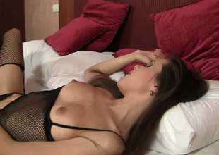 Fascinating brunette Abrill Gerald in darksome lingerie is sex hungry. She gets her beautiful arse tongue fucked and her tight fur pie toyed in the bedroom. David Perry loves her tight holes