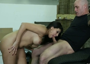 Mercedes Carrera with juicy boobs cant resist Derrick Pierces rock solid boner and takes it in her mouth