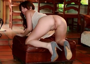 Shay Laren with giant knockers and smooth beaver touches her hole playfully