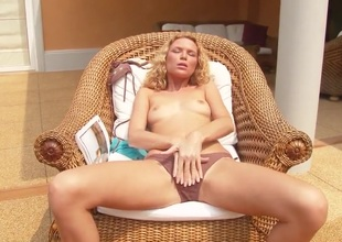 Summer Breeze with small tities and bald beaver groans as she fucks herself with fingers