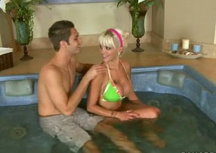 Blonde Delta White is on the way to the height of fun with hard meat pole in her wet hole