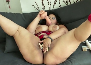 Karla Lane parts her legs to fuck herself with vibrator