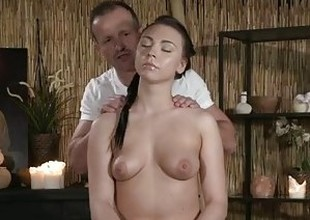 Massage Rooms Young Teen with perfect bum has intense big O with older guy