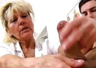 Cfnm handjob at sperm clinic with hawt legs grandma Hana
