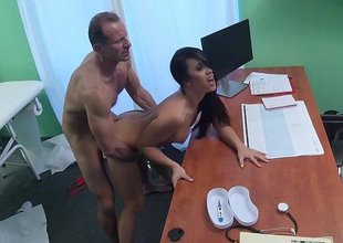 Slutty doctor uses his office space for joy