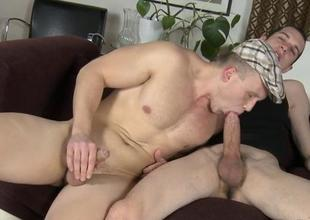 Flower chap is engulfing homosexual studs jock hungrily