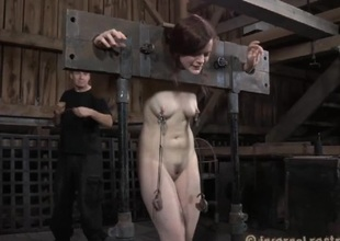 Masked beauty with exposed cunt acquires wild flogging