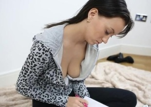 Babe writing in her diary as you spy on her cleavage