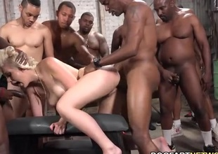 Interracial gangbang of a white whore that loves anal