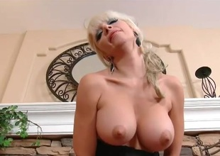 Big titty bimbo milf riding her vibrator lustily